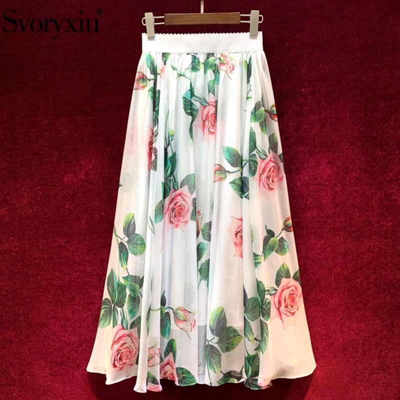 Svoryxiu 2020 New Women's Summer Runway Rose Flower Print Long Skirt Women's Fashion Casual Holiday Skirt Female