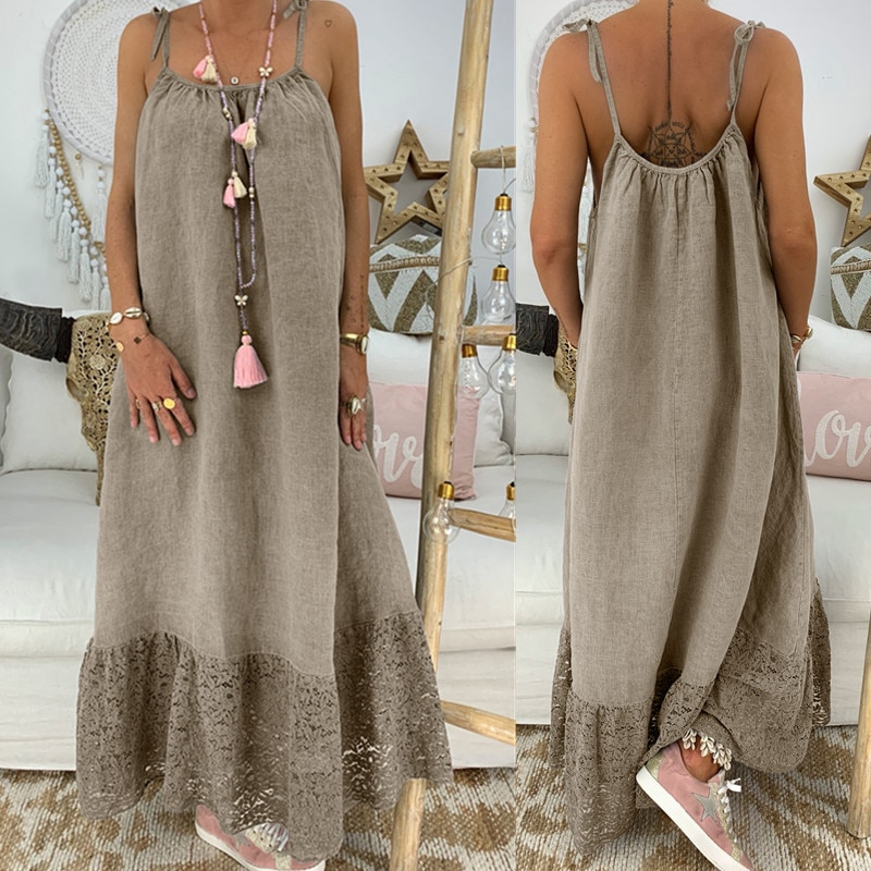 Summer Loose Spaghetti Strap Maxi Slip Dress Beach Long Lace Lady Vestidos Solid Large Sundress Sleeveless Backless Linen Dress