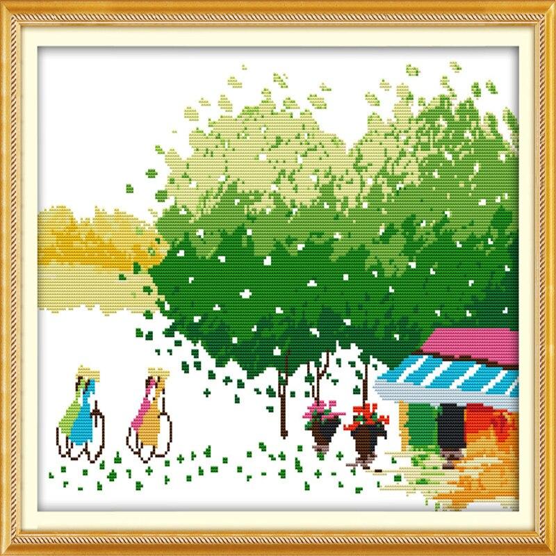 Kit de bordado de punto de cruz NKF Four Seasons Primavera Verano Otoño Invierno temporada de cosecha pintura decorativa hecha a mano 11CT 14 ct
