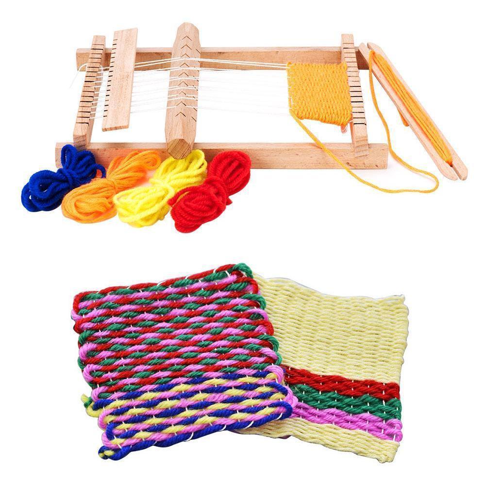 needle sewing tools diy kids knitting machine kit weaving loom for scarf hat sweater kids children pretend play toys knitting to Kawaii DIY Hand-Knitting Wooden Loom Toys Children Weaving Woven Educational Art Children's Machine Toys Toy Educational