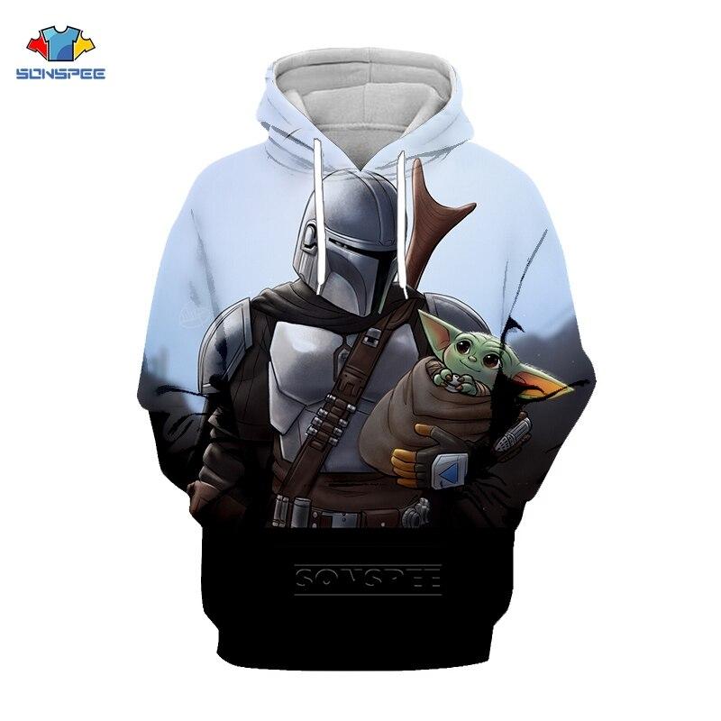 Sonspee brawling star wars o mandalorian bebê yoda 3d impressão hoodies moletom masculino cosplay streetwear jaqueta sudaderas casaco
