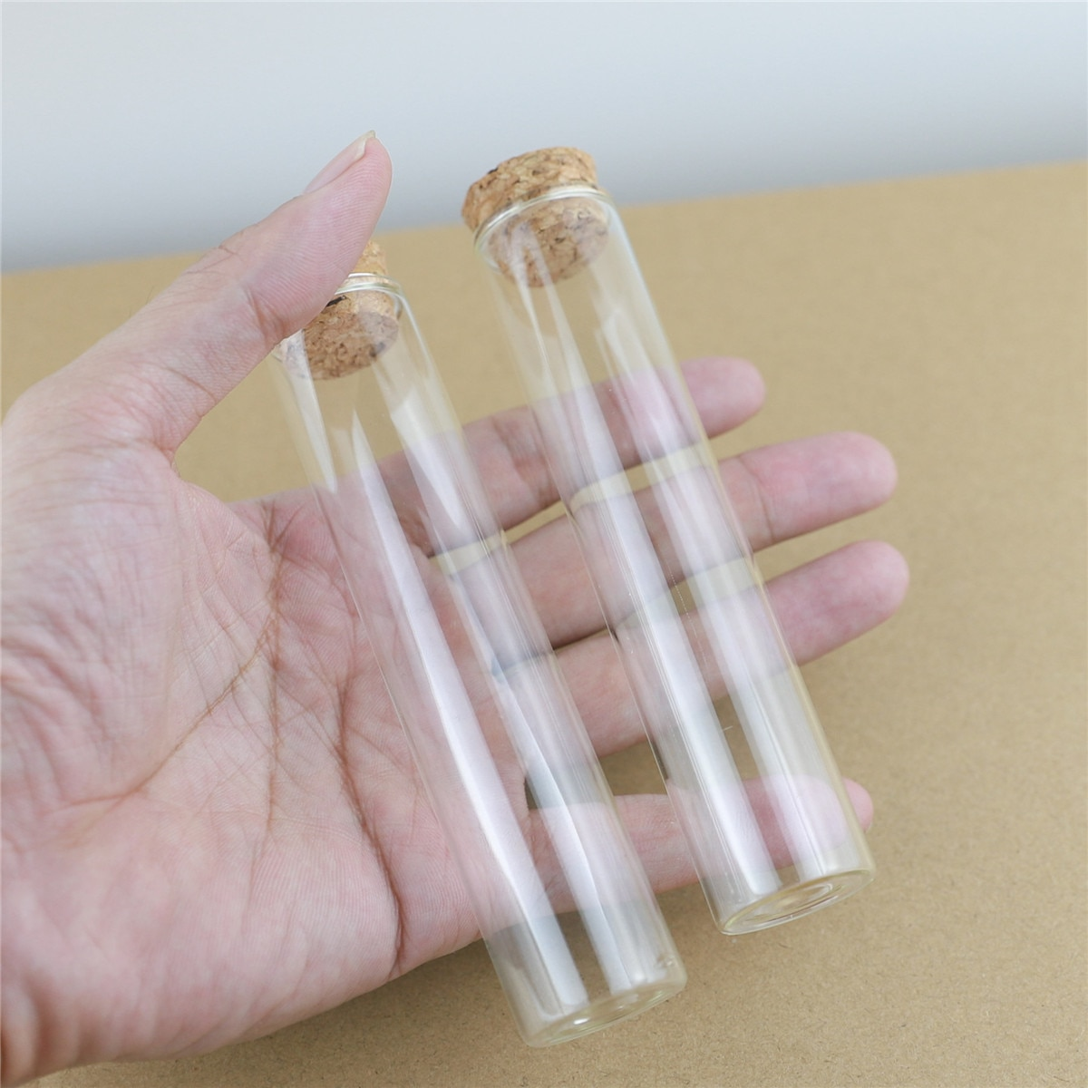 24 قطعة/الوحدة 25*150 مللي متر 55 مللي صغيرة زجاجة اختبار أنبوب الفلين سدادة البسيطة التوابل زجاجات الحاويات صغيرة DIY الجرار قوارير