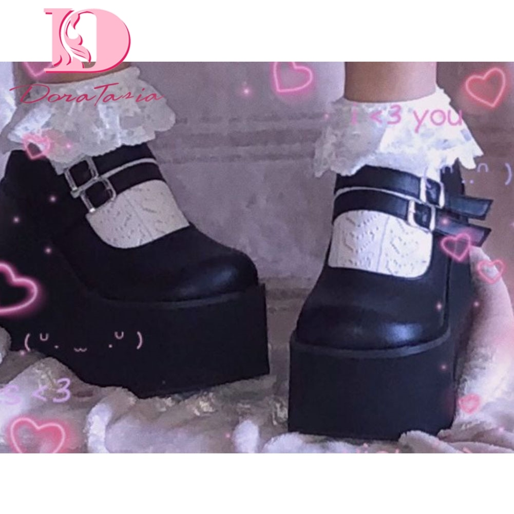 DORATASIA Brand New Female Lolita Cute Mary Janes Pumps Platform Wedges High Heels women's Pumps Sweet Gothic Punk Shoes Woman