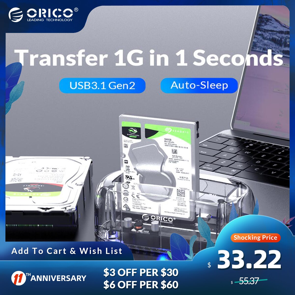 ORICO HDD Docking Station  2.5 3.5 USB3.1 Gen2 Type-C 10Gbps Hard Drive Enclosure External HDD Case Transparent Hard Disk Case