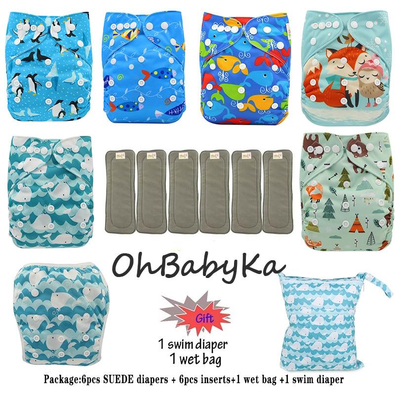 Детские тканевые подгузники с карманами, 6 упаковок, 6 вкладышей, 1 влажный мешок, 1 подгузник для плавания Ohbabyka, брендовые тканевые подгузник...