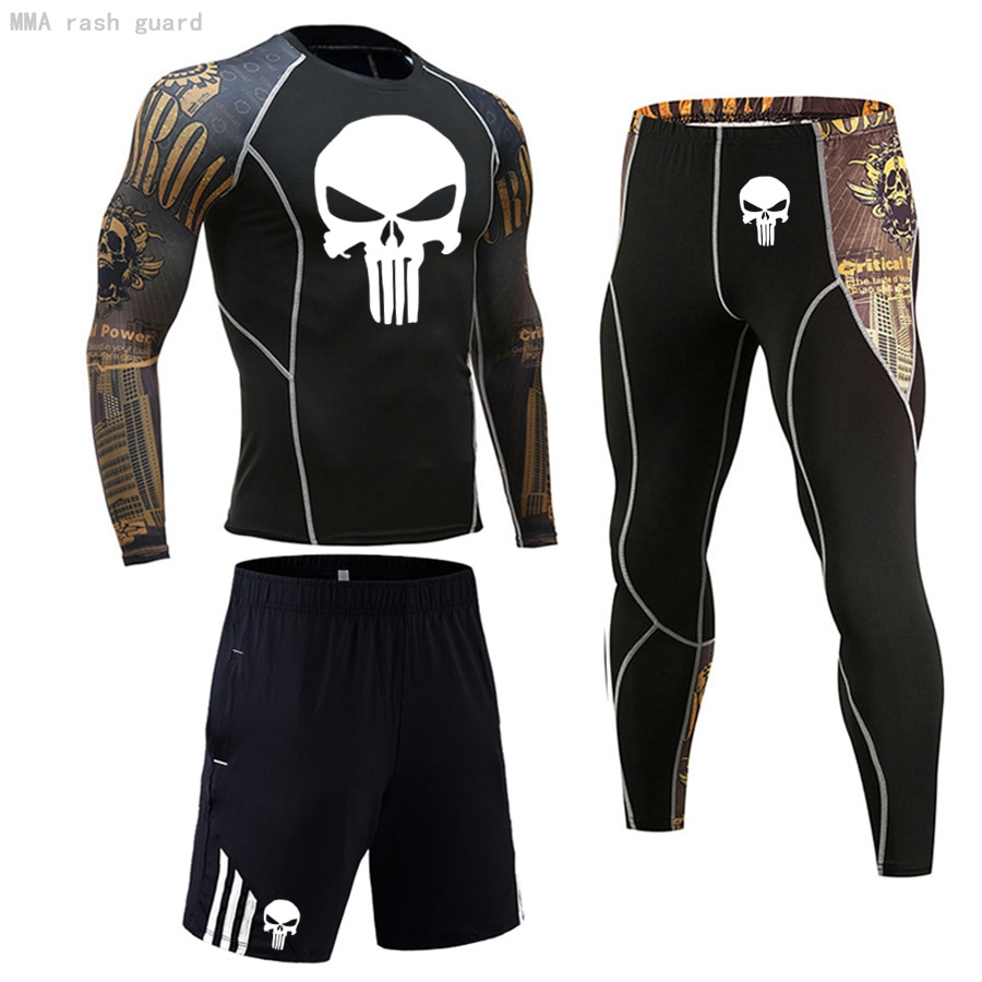 3PCS Set Sports Men's Compression GYM Tights Spo rtswear Suit Training Clothes Skull shirt Workout J