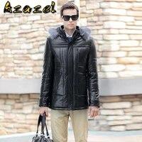 hot korean plus size mens sheep skin leather jacket men warm outwear mens winter detachable hat coats male slim fashion jackets