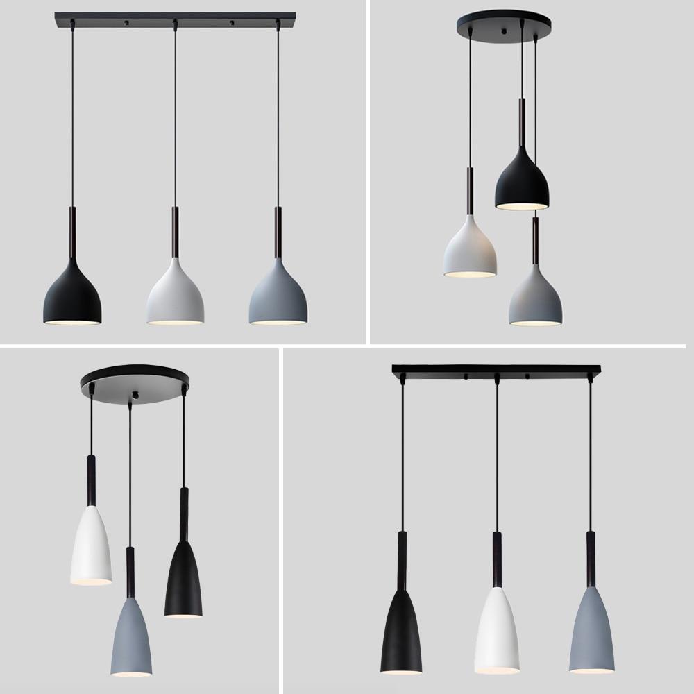 Luces colgantes nórdicas modernas de 3 cabezales, lámpara colgante para pisos estilo...