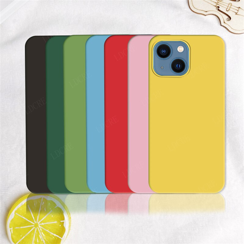 For Cover iPhone 13 Case For iPhone 13 Capas Ultra-thin Phone Bumper Shockproof TPU Candy Coulor Sof