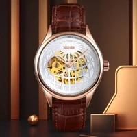 automatic watch man clock fashion mechanical watch for men luxury brand quartz watches men leather strap waterproof 2021 skmei