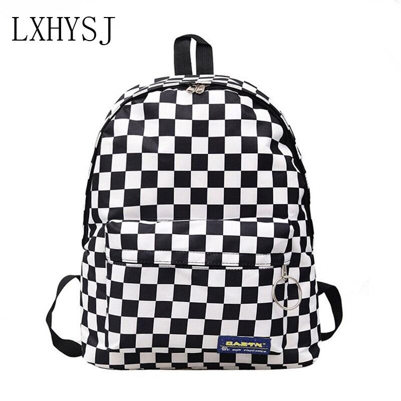 Nueva mochila de Viaje Unisex de nailon a cuadros en blanco y negro para estudiantes al aire libre, mochila de uso diario, mochila Retro, bolsa de libros para mujeres