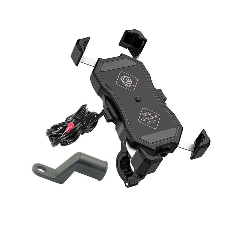 Водонепроницаемый держатель для мобильного телефона мотоцикла 360 ° зеркало на руль мотоцикла подставка для телефона с QC 3,0 USB зарядное устро...