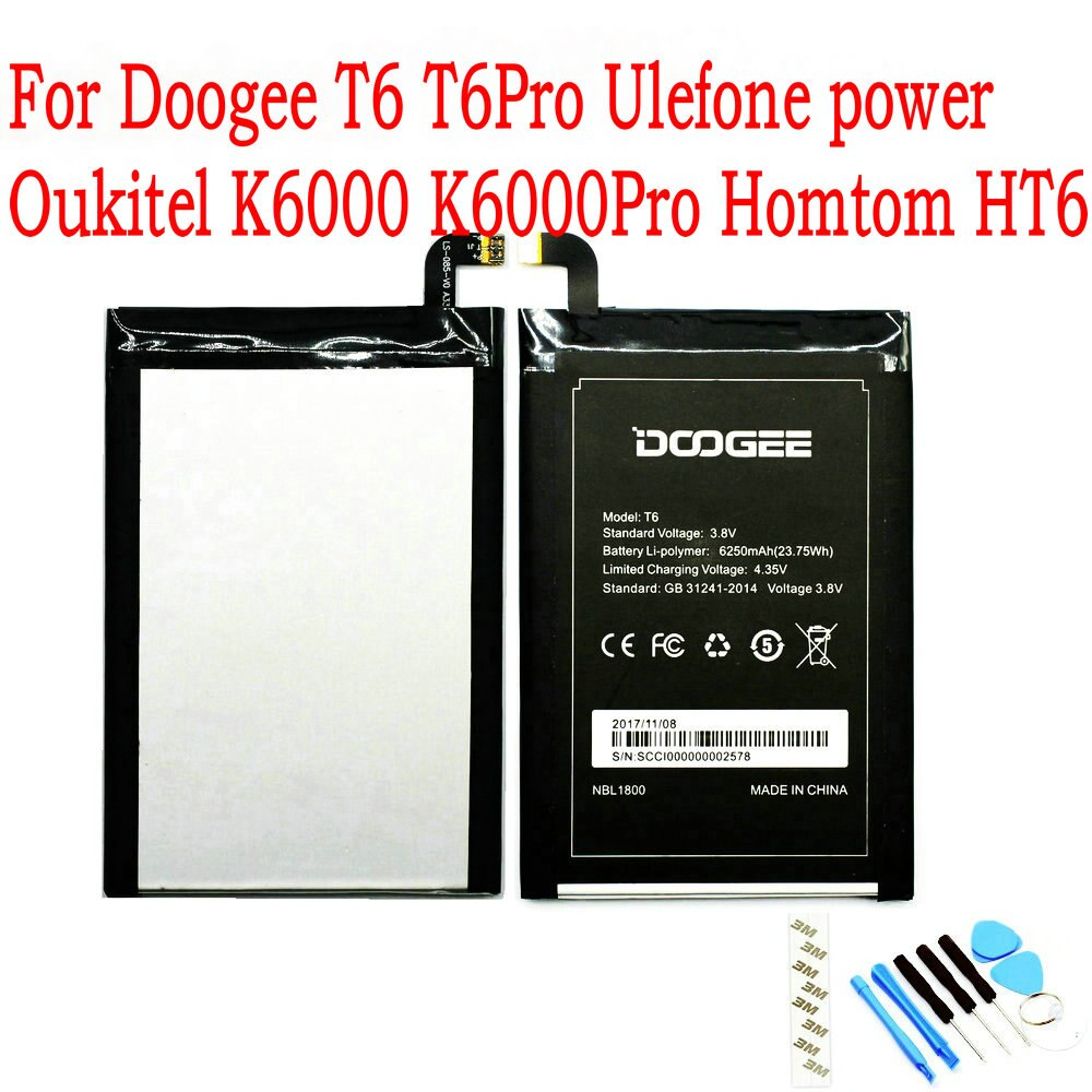 Nueva batería Original de 6250mAh para Doogee T6 T6Pro Ulefone power Oukitel K6000 K6000Pro Homtom HT6 teléfono móvil