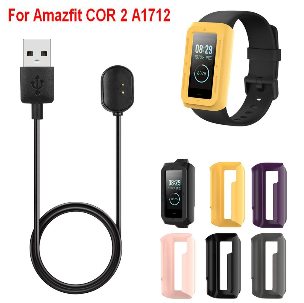 COMLYO stacja ładująca kabel USB do paska Amazfit COR2 ochrona TPU etui do Huami Amazfit COR 2 A1712 obudowa bransoletki