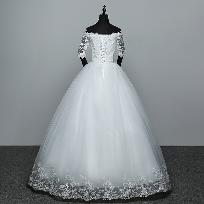 Elegant Boat Neck Half Sleeve Lace 2021 new Wedding Dress Applique Perspective Custom Made Plus Size Wedding Gown Casamento L