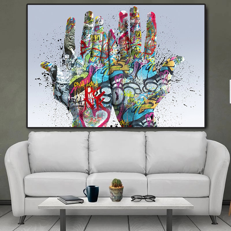 Уличное граффити искусство руки Холст Картина плакаты и принты популярная Настенная картина для гостиной украшение дома Куадрос