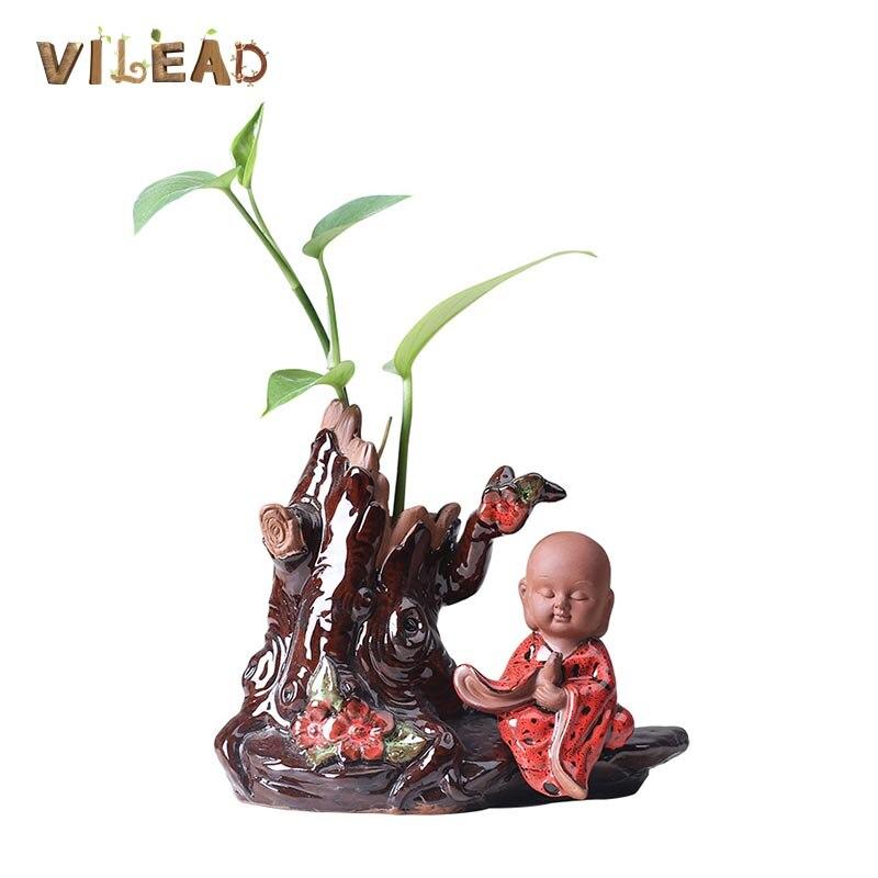 Maceta VILEAD, 12 estilos, cerámica, Color, monje, flor hidropónica, creativa, para sala de estar, escritorio, maceta para decoración del hogar, maceta