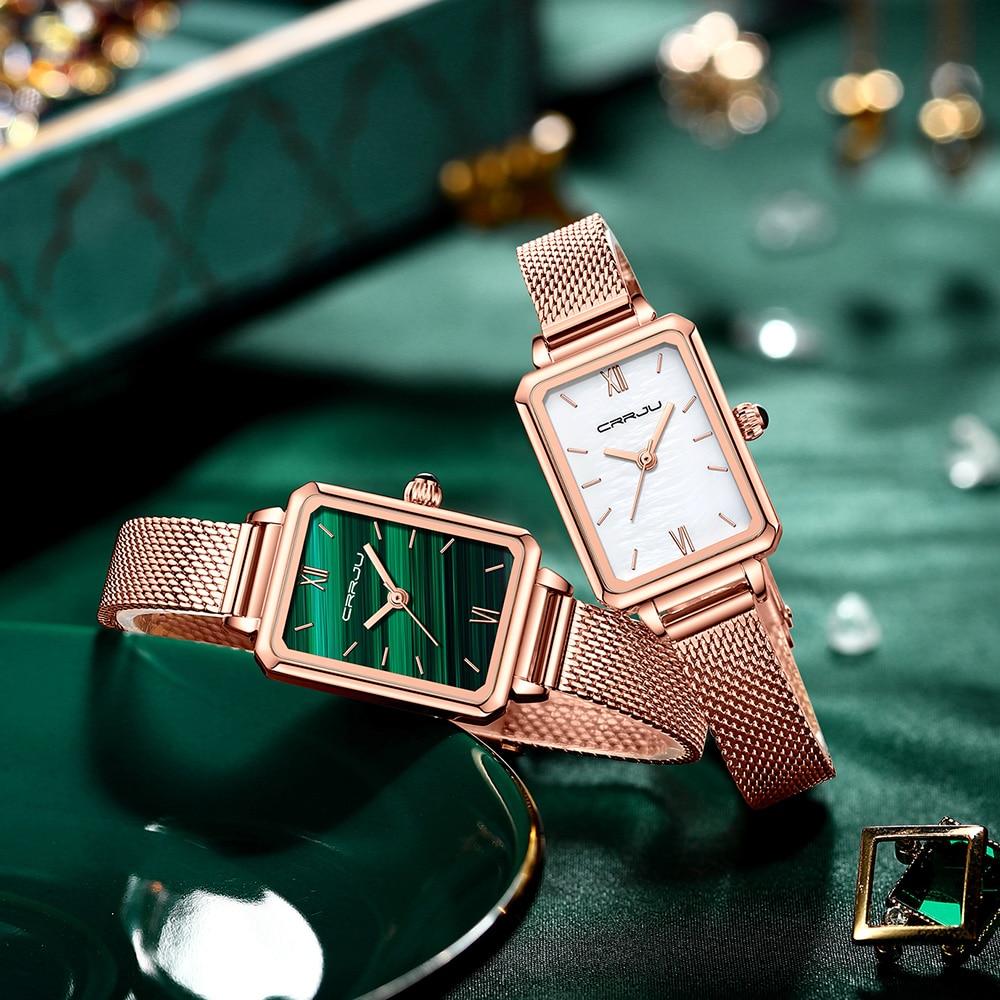 Women Green Watches CRRJU Fashion Casual Ladies Daily Dress Mesh Wristwatch Minimalist Popular Waterproof Quartz reloj mujer enlarge