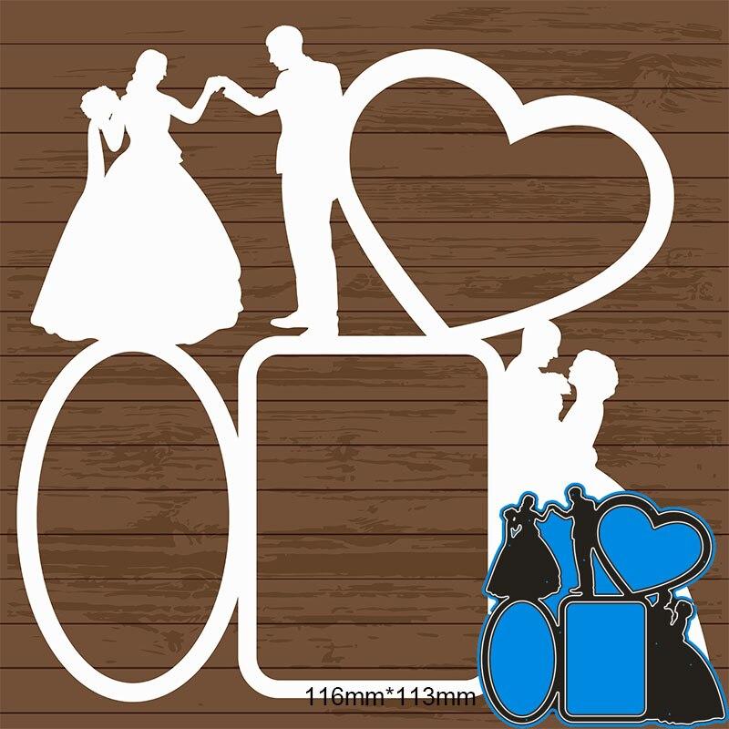 Metal steel Cutting Dies New  love heart During the wedding  DIY Scrapbooking Photo Album Embossing paper Cards 116*113mm