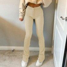 SHUJIN 2021 New Streetwear Solid Sweatpants Tracksuit Women's Sports Pants High Waist Side Split Skinny Long Trousers Y2k Capris