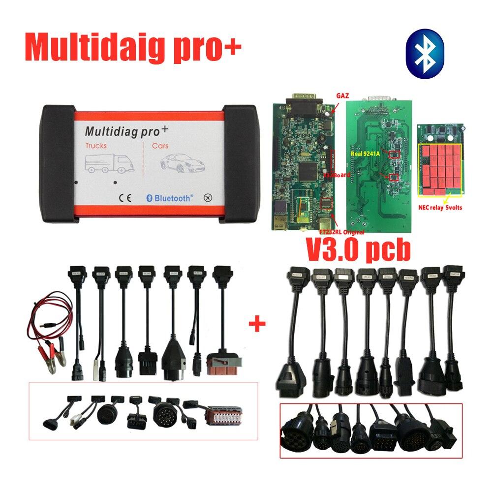 Envío gratuito con DHL MVD Multidiag pro VD DS150E CDP 3,0 Bluetooth 2016 R0 con keygen OBD2 herramienta de escaneo de diagnóstico + 16 Uds coche/camión cables