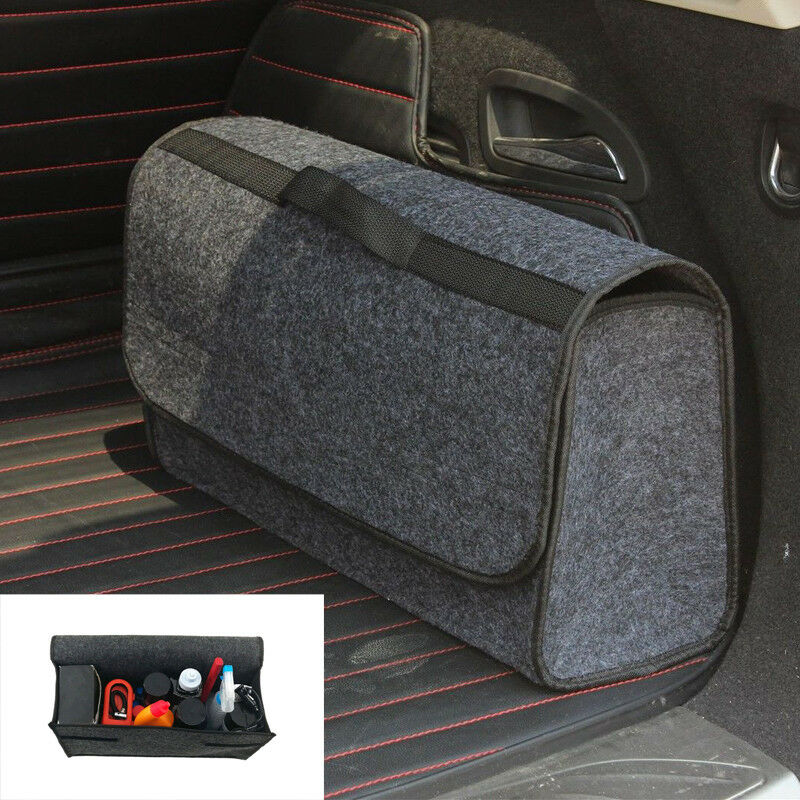 Multi-use Gray Felt Trunk Organizer Car SUV Storage Bag Travel Boot Box Foldable