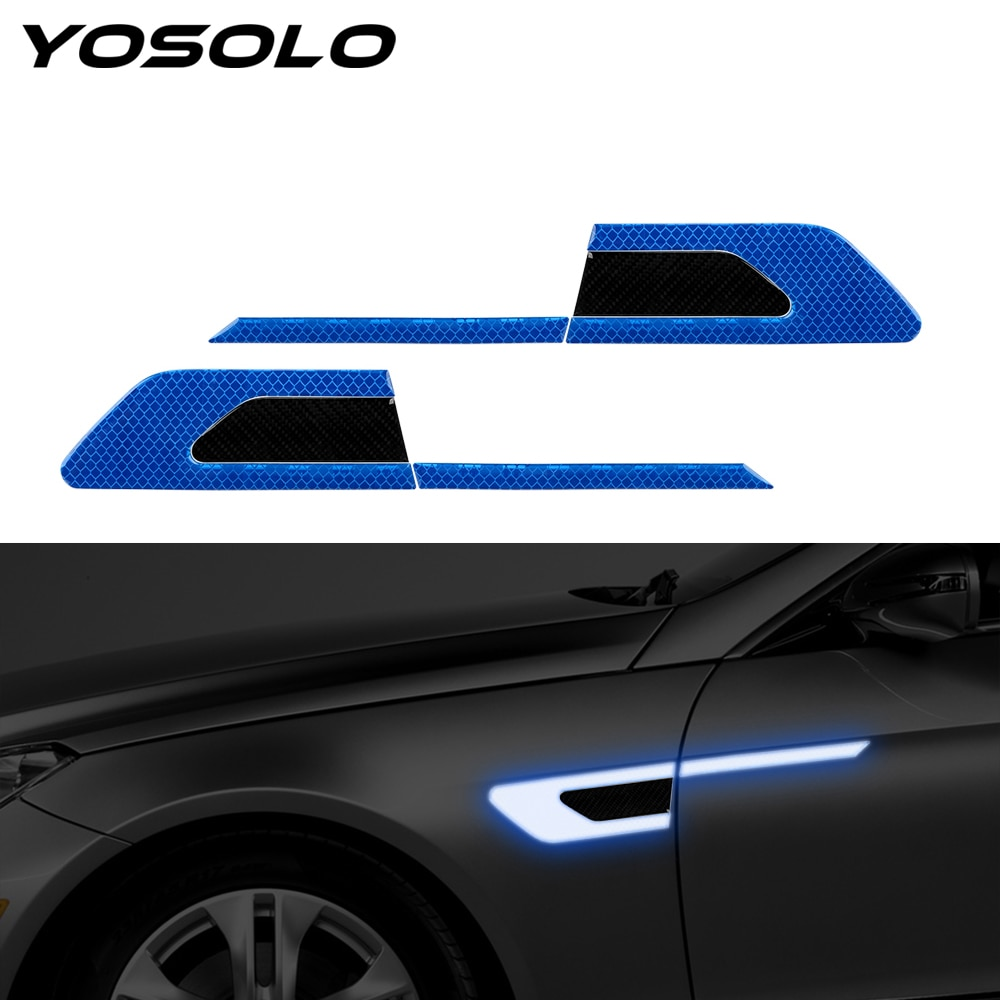 YOSOLO 2 pièce/ensemble pare-chocs de voiture bandes réfléchissantes voiture autocollants réfléchissants bande davertissement de sécurité bande Auto autocollant de porte autocollant
