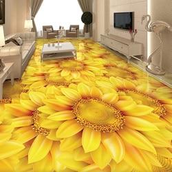 Personalizado auto-adesivo piso papel de parede moderno flor flor de girassol 3d piso telhas mural sala de estar quarto decoração da sua casa adesivos