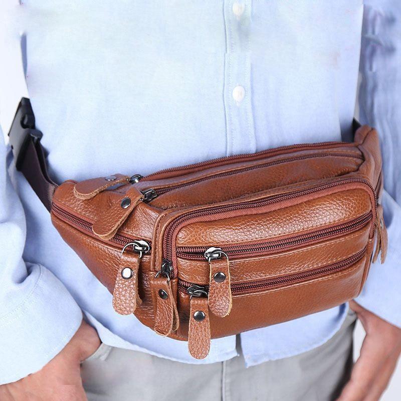 JCHENSJ Echtem Leder männer Fanny Pack Taille Tasche Für Männer Große Kapazität herren Gürtel Tasche 7 Zipper Tasche outdoor