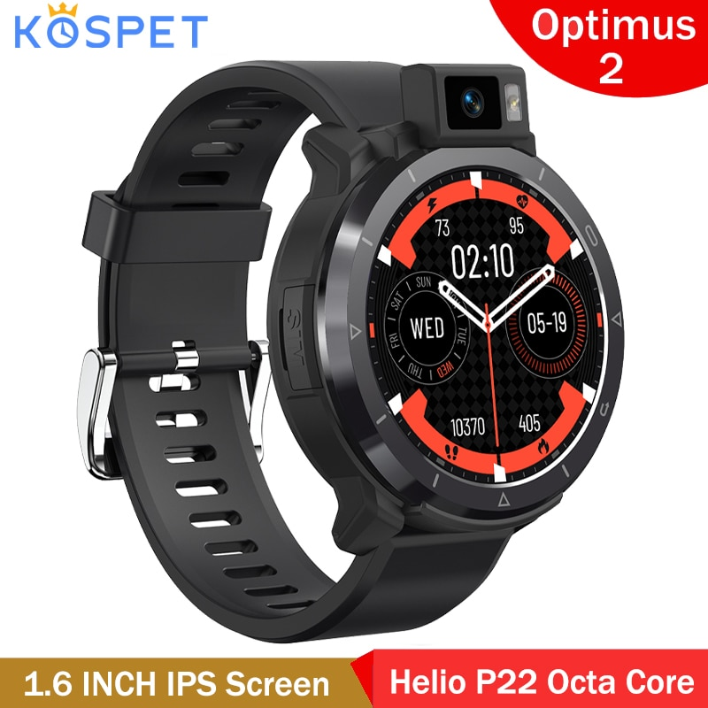 Get Kospet Optimus 2 Dual Chip Dual Mode 4G Smart Watch Android 10.7 Helio P22 Octa Core Men Smartwatch 4+64GB 13MP Camera GPS Wifi