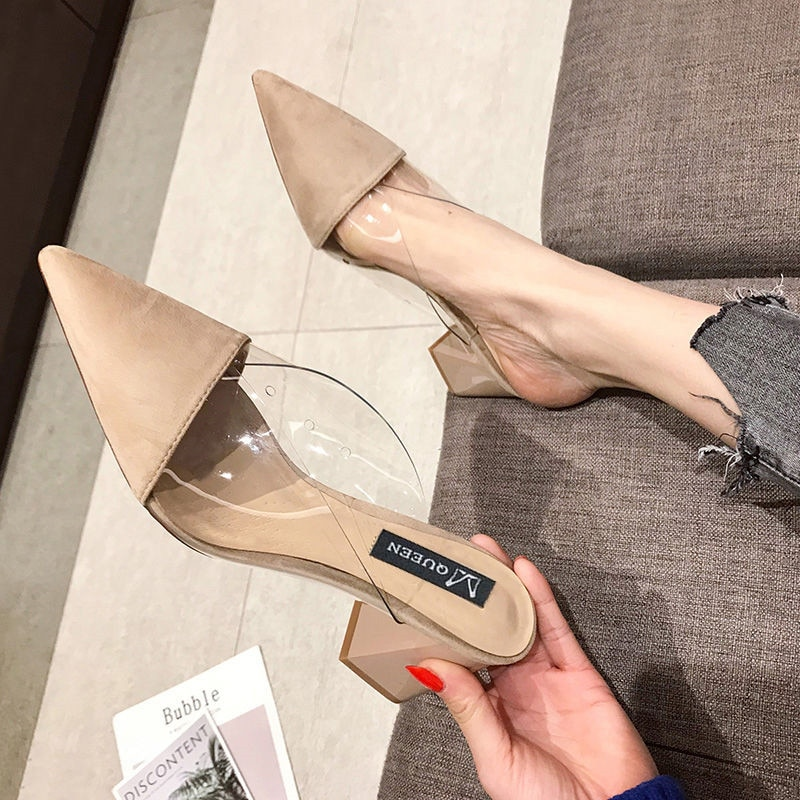 crystal ribbon high heel mules shoes women metal heel pointed toe slippers sandals summer shoes closed toe slippers women 2020 Pointed Toe Suede Square heel High heels Muller slippers women 2021 summer shoes women Fashion Patchwork Shallow ladies shoes