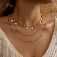 new multi layer adjustable fashion necklace crystal exquisite butterfly pendant necklace clavicle chain for women gift