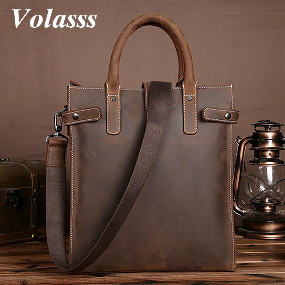 Volasss Men Business Briefcase Handbag Tote Bag Genuine Leather Male Messenger Shoulder Bags For 13