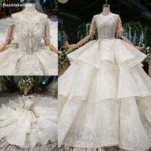 تول نصف كم الوهم الرقبة العالية فساتين الزفاف منتفخ فستان عروس طبقات مطرز كريستال فستان الزفاف 2020