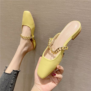 Spring/summer 2021 new square, flat, flat, flat, flat, metal chain slippers for women's shoes