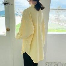 2020 automne manches longues coton bouton Cardigan longues chemises femmes grande taille décontracté en vrac solide femmes Blouse Blusas Mujer 10109