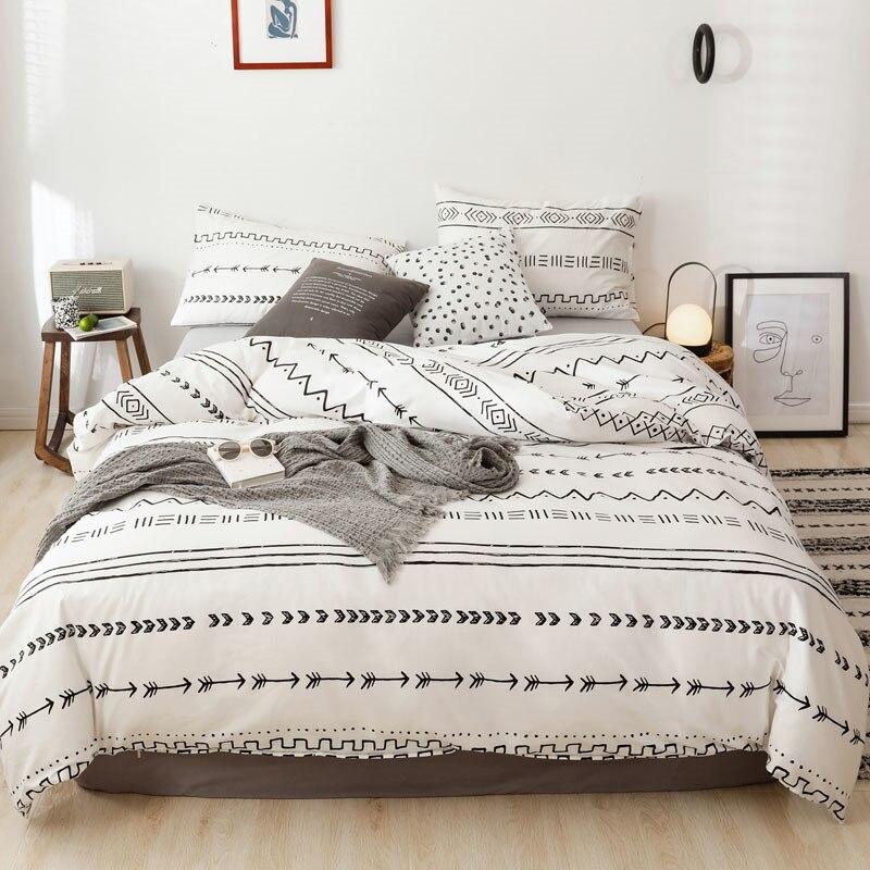 بسيط أسود شريط أبيض لحاف لتغطية الفراش سرير مزدوج 2-3 قطعة للمنزل واحدة الفتيان الفتيات سوبر الملكة الملك الحجم