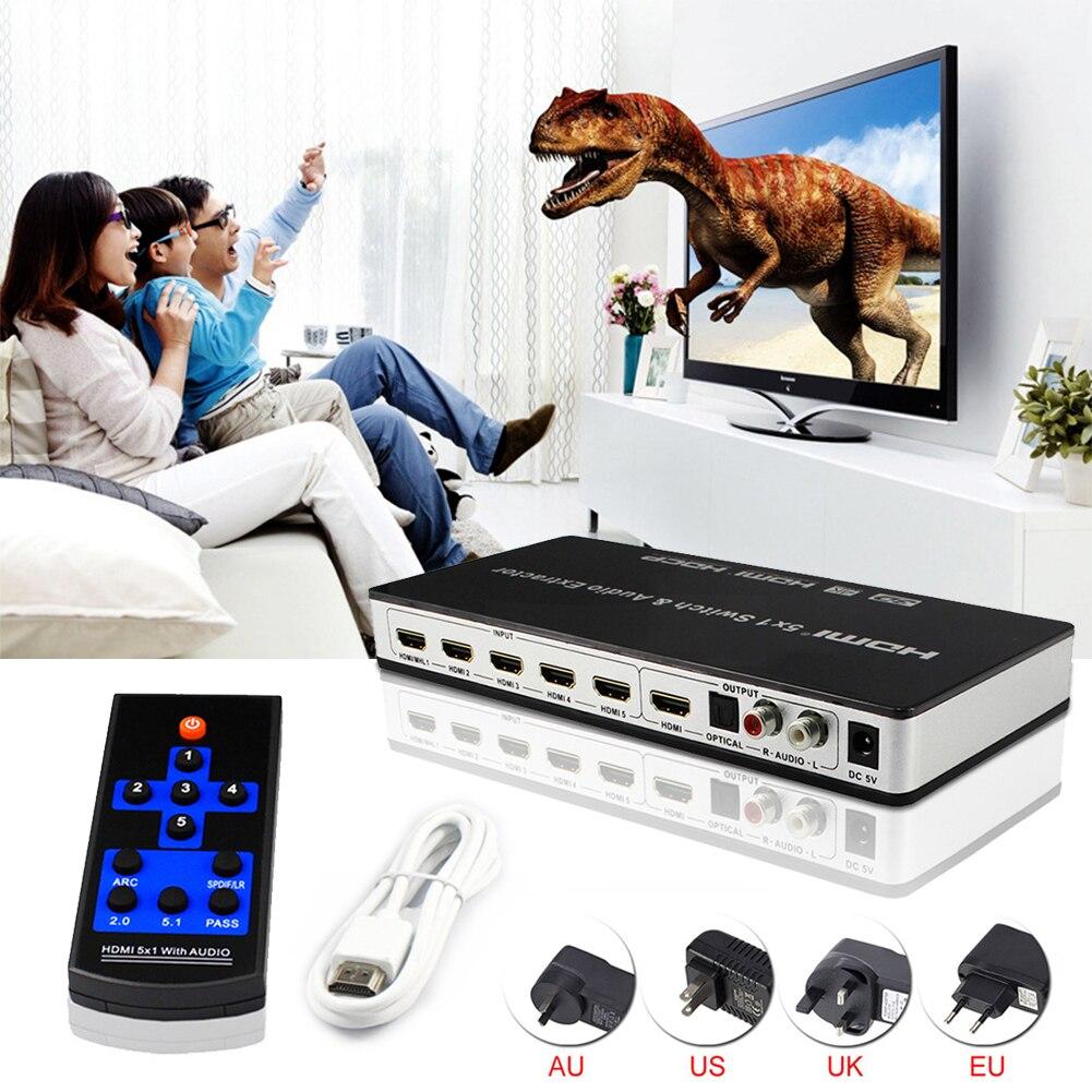 4K x 2K @ 30hz completa 4K HD 1080P 3D arco interruptor HDMI 5x1 Audio Extractor Video convertidor 5 puerto HDMI 5 en 1 para HDTV PS3