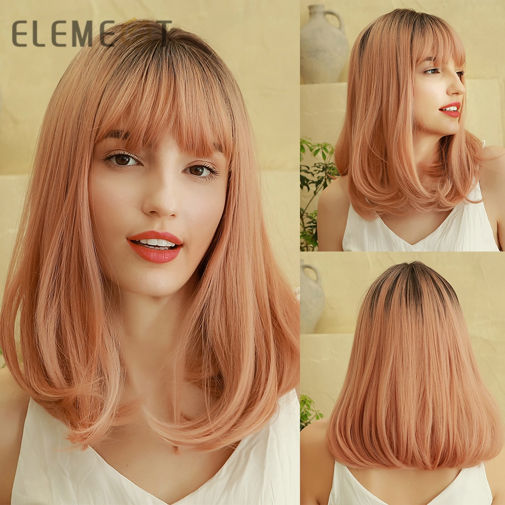 Element Cute Girls Dark Roots to Pink Ombre Synthetic Hair Wigs with Bangs for Women Cosplay Party Daily Halloween Makeup Use