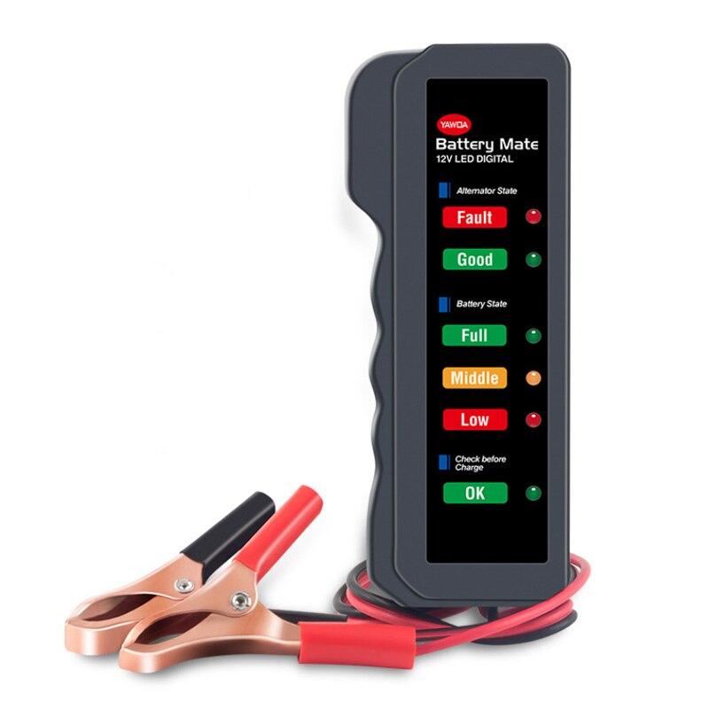 Портативный мини-тестер автомобильных аккумуляторов 12 В, тестер генератора с 6 светодиодный ными индикаторами