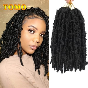Tomo 12Inch Butterfly Locs Crochet Hair Pre Looped Crochet Braids Hair Extensions Natural Soft Faux Locs For Woman 12Strands/pc