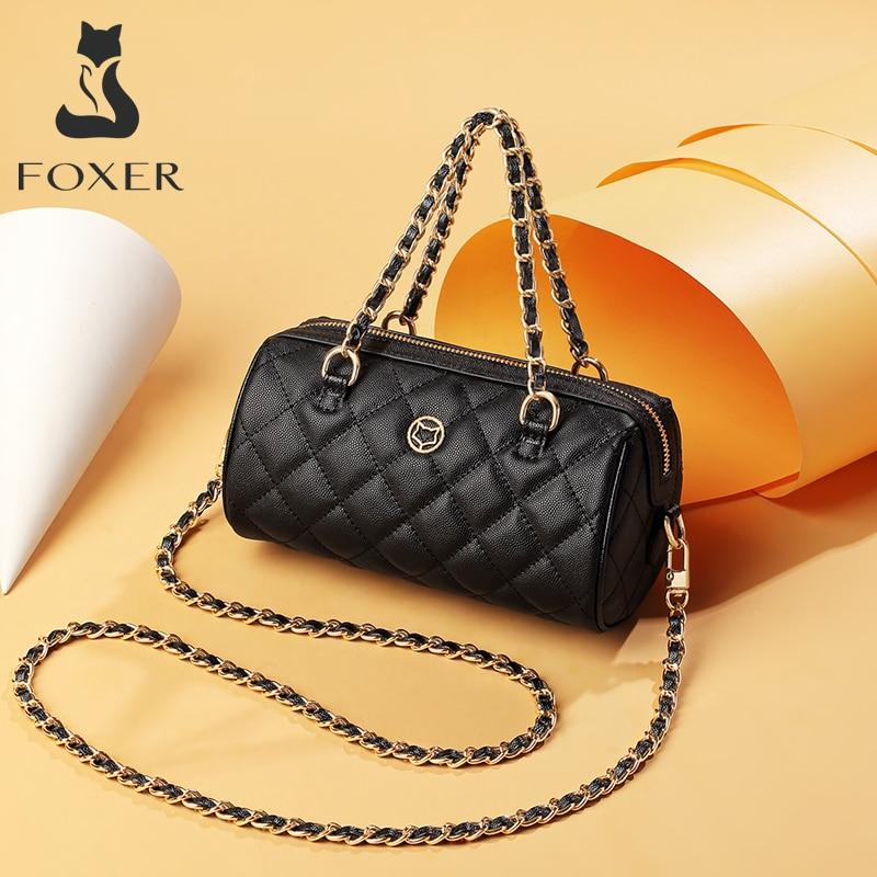 FOXER Fashion Leather Shoulder Bag for Women Small Baguette Bag Lady Mini Handbag Crossbody Bag Female Brand luxury Party Purse