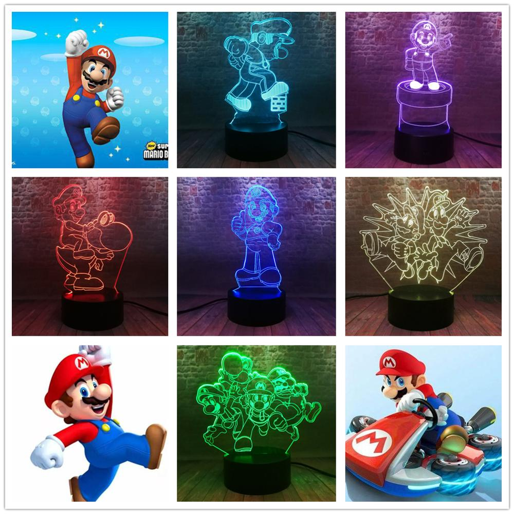 Super Mario Figur Spielzeug Luigi Yoshi Toad Donkey Kong Bowser Goomba Bombe Wario Waluigi Diddy Geist Figurine Nacht Licht Kind gif