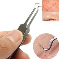 stainless steel curved face hook mouth acne needle clip extractor blackhead acne remove tweezer needle beauty skin care tools