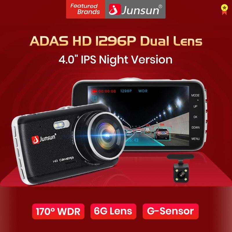 "Junsun H7 4.0"" LDWS Car DVR FHD 1296P Dual Lens Dash Cam Camera Auto Registrator with Rear Camera WDR Night Version Voice Alarm"