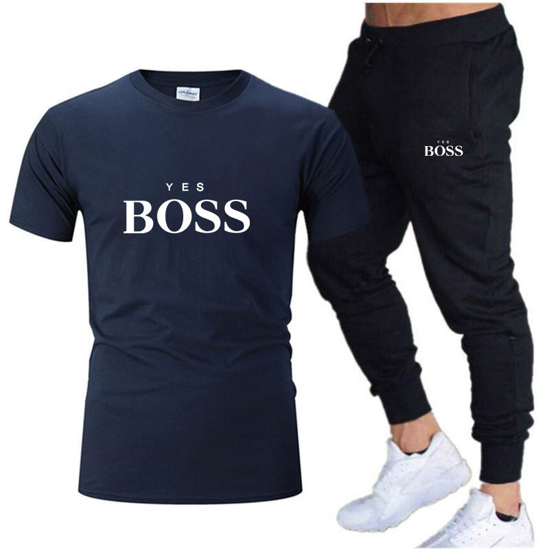 2021 new fashion T-shirt Pants suit brand summer men's clothing daily outing running sports men's clothing S-2XL