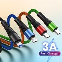 4 в 1 USB-кабель для iPhone зарядное устройство 3 в 1 Micro USB/Type C/8 Pin нейлоновая оплетка Kable 3A шнур для быстрой зарядки для iPhone 12 Xiaomi 10