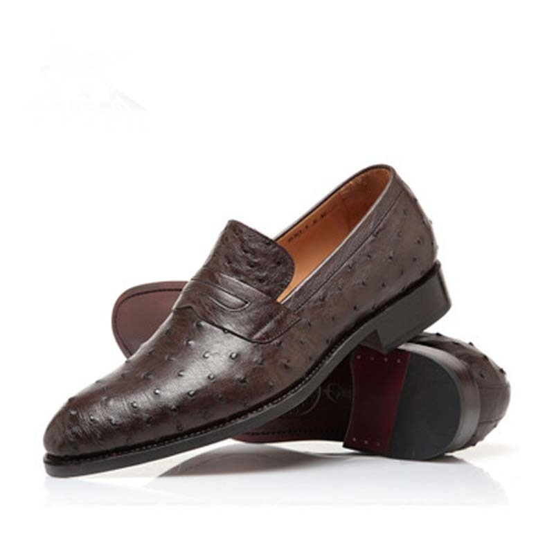 Hubu-حذاء جلد النعام عالي الجودة للرجال ، حذاء جديد من جلد النعام ، مستورد يدويًا