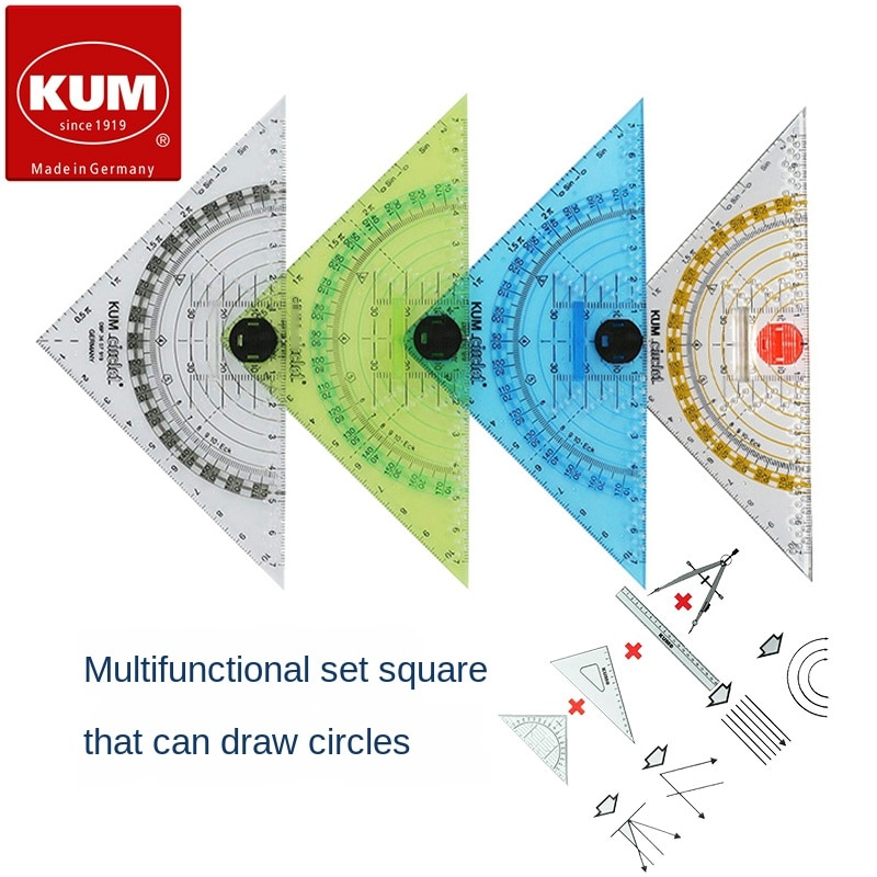 Germany Kumm 293c Compasses Ruler Protractor Set Square Four-in-One High Transparent Multi-Function