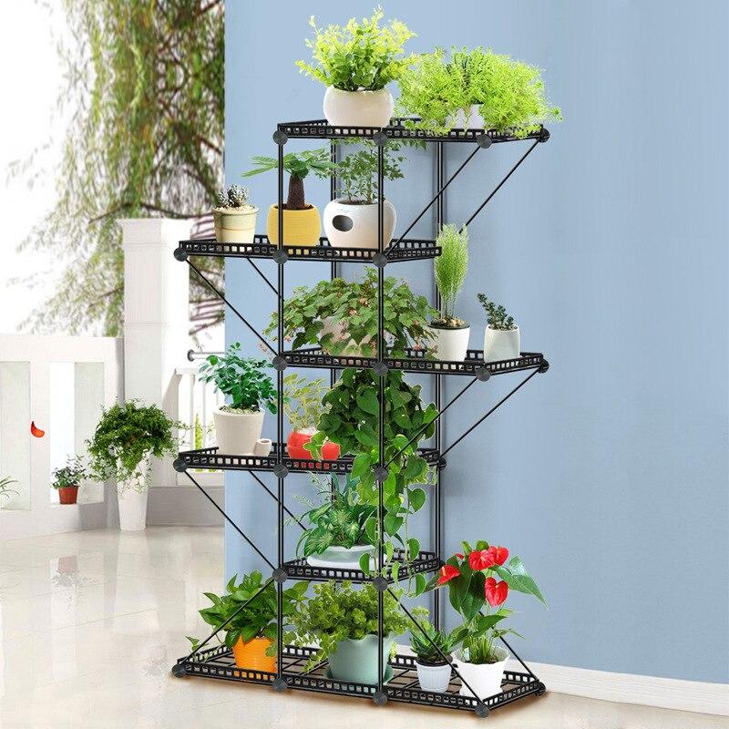 Balcony iron installation frame flower rack plant display floor frame metal plant stand indoor metal shelf flower stand planter